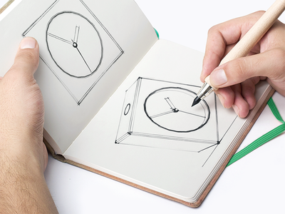 3D Clock Sketch illustration staight lines sketch alarm clock clock 3d