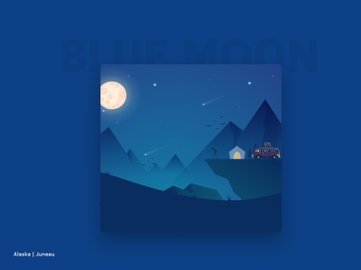 Moon watcher stargazing mountain moon digital art art visual art vector flat designers design dribbblers dribbble illustration