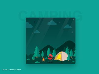 Camping wonderlust illustrations illustrator graphic design forest visual art adobe flat designers design dribbblers dribbble illustration