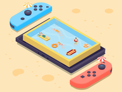 Nintendo beach nintendo switch holiday vector isometric beach isometric illustration illustrator nintendo switch digital art isometric design designers design illustration dribbblers dribbble