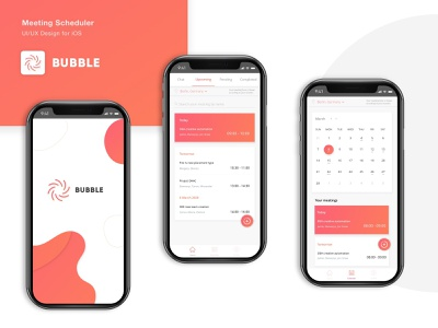 Bubble: meeting app app design design designers userinterface scheduler meeting app mobile app mobile ui ux ui illustration dribbblers dribbble