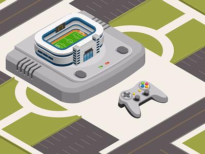 Football console art football designers dribbblers dribbble adobe technology illustration isometric art game virtual playstation stadium joystick console