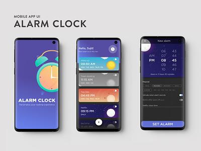 Alarm clock app design uidesign dailyui app ux ui visual art design designers dribbblers dribbble