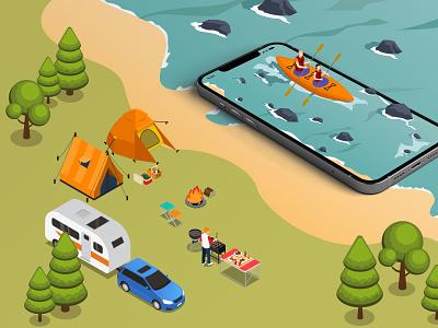 Nomophobia gadgets river beach camping forest graphic design branding technology mobile isometric visual art illustration design dribbble designers dribbblers