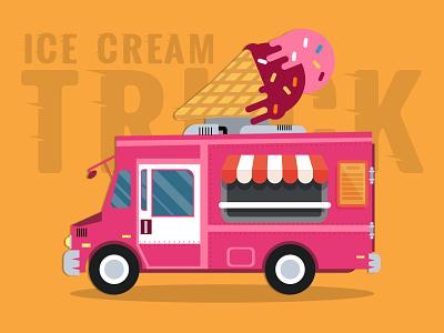 Ice Cream Truck first draft flat vector invite design truck design illustration
