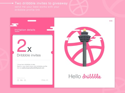 Dribbble Invitation ui flat visual art vector illustration invite giveaway invite invitation invitation design designers dribbblers dribbble
