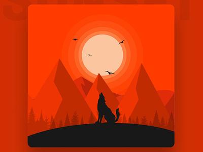 Red Sky minimal sunset red sky art designers dribbblers dribbble flat visual art design vector illustration