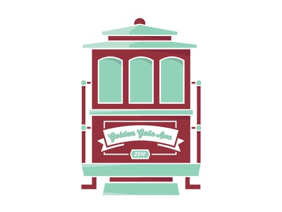 San Francisco Trolley Car san francisco illustration flat turquoise red trolley