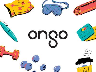 Ongo Branding hand-drawn icon logomark wordmark type typography color illustration logo brand branding