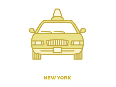 City Transportation Illustration: New York simple monochromatic icon illustration design taxi new york