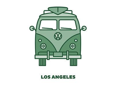 City Transportation Illustration: Los Angeles la stroke vw green monochromatic illustration design graphic design