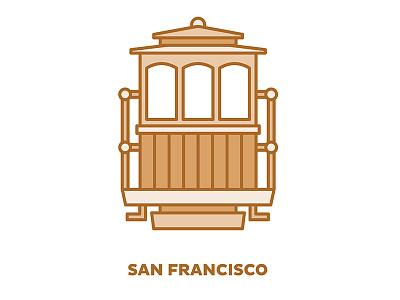 City Transportation Illustration: San Francisco trolly orange san francisco illustration graphic design design