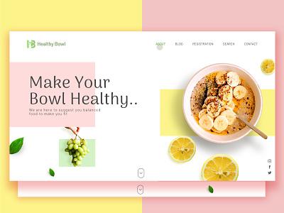 Healthy Bowl logo yellow photoshop dribbble oats scrool down green pink ui design ui illustrator design landing page grapes bananas lemon nutritionist nutrition health healthy