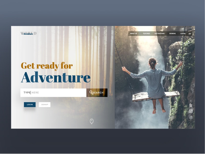 Travelling website landing page ui adventure travel travelling website waterfall world mountain page