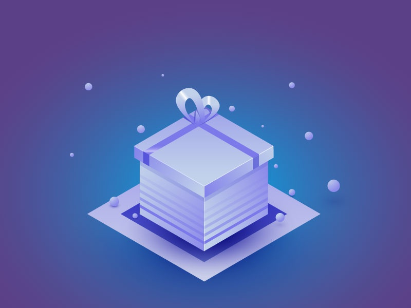 Isometric gift box isometric icon ribbon cool white blue shadow balls box gift