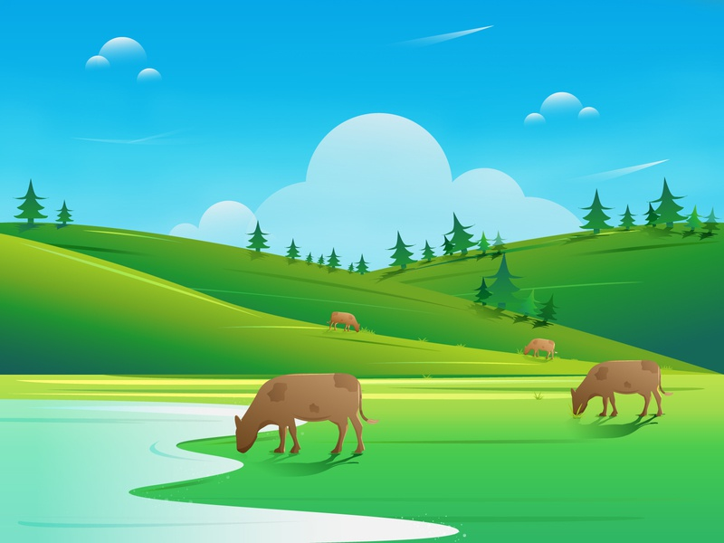 sunday leisure time work landscape grass gradient blue water light cows tree hills sky green