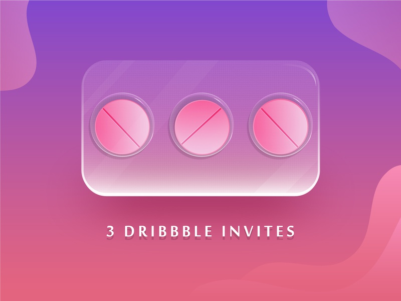 3 Dribbble Invites pills three 3x pink invite invitation design gradient dribbble