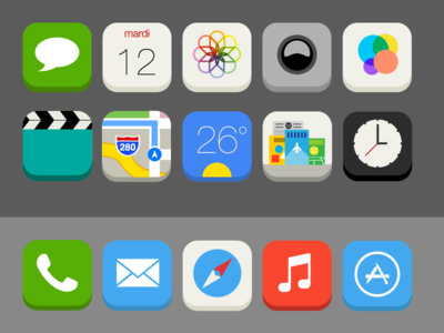 iOS 7 Flat Redesign - Icons Details