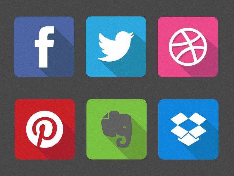 Famous Flat Logos  facebook twitter dribbble pinterest evernote dropbox flat design flat icon icon ios7 long shadow