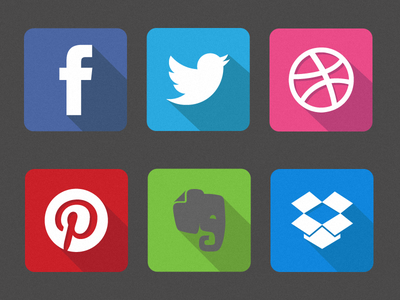 Famous Flat Logos  facebook twitter dribbble pinterest evernote dropbox flat design flat icon icon ios7 long shadow