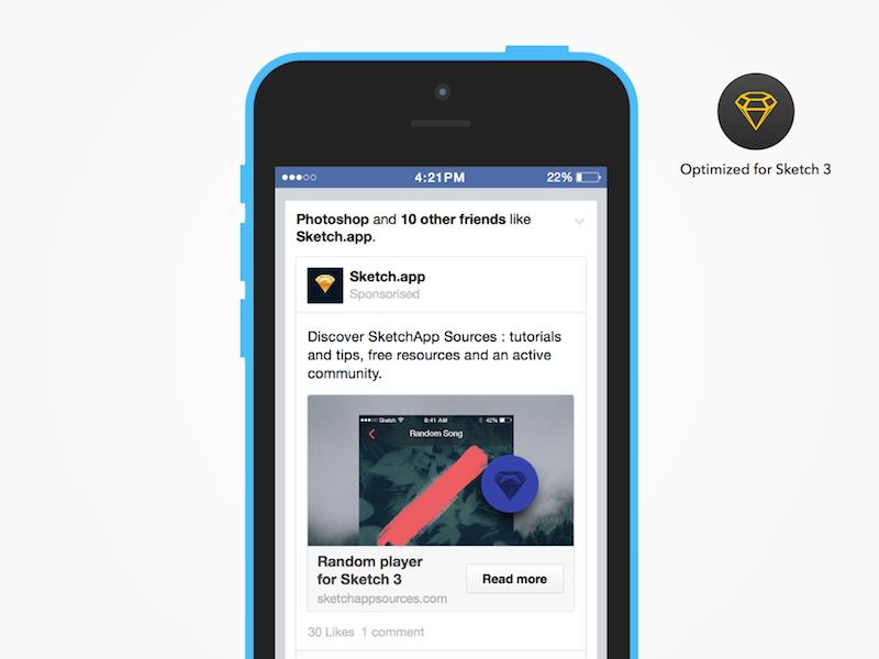 [Freebie] Sponsorised Facebook advertising (iOS) sketch 3 sketch app ads sponsorised facebook ios freebie