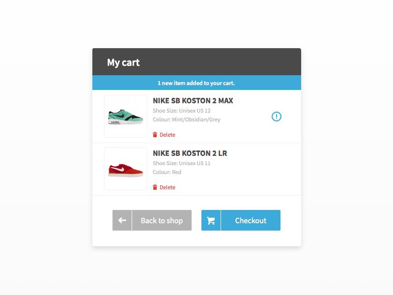 Simple Cart cart buy alert icon ui card sketch sketch app