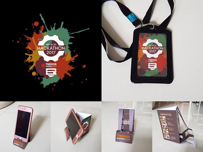 Tremor Video DSP Hackathon 2017 Singapore design branding diy phone stand diy collaterals phone stand event design logo design