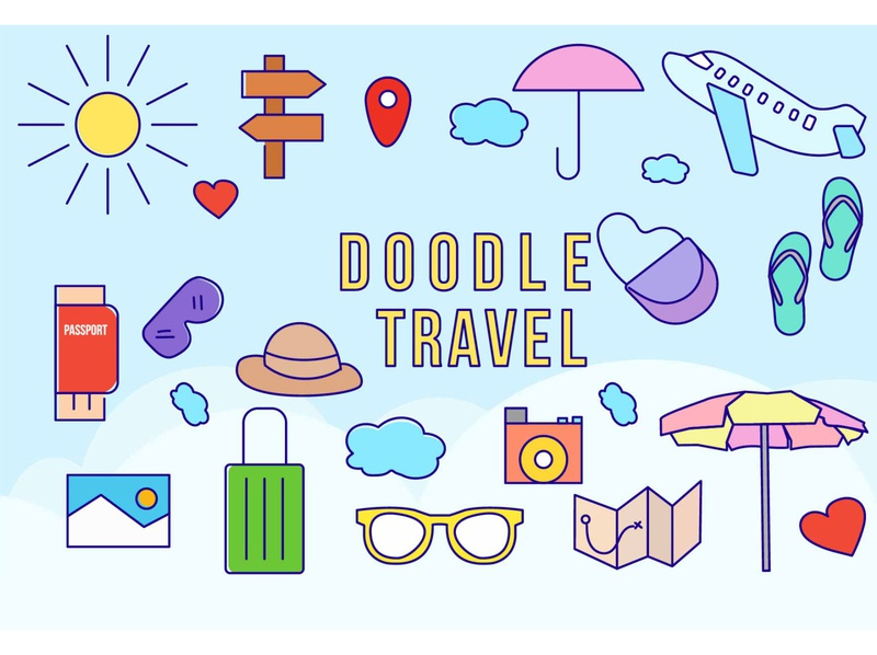 Doodle Traveling vector graphic design flat design illustration handrawn doodle travel