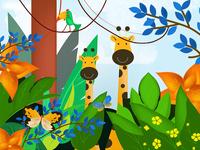 girrafe peek a tropical jungle