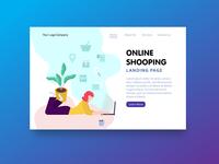 Landing Page Online Shooping Illustration