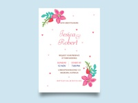 beauty floral weeding invitation card