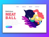 Landing Page woman eating meatball
