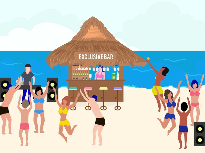 Summer party vector people landing page ui graphic design flat design illustration dance music dance ocean party beach paradise pool summer
