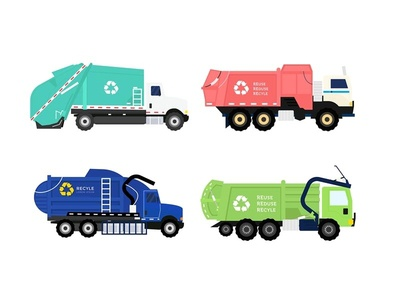 4 style garbage or recyle truck