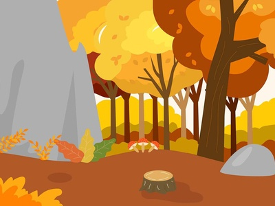 Illustration of a autumn cliff in a forest