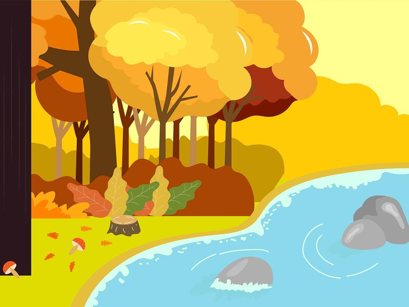 Autumn forest lake water landscape illustration lake cliff forest autumn