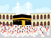 Muslim people praying at kabah