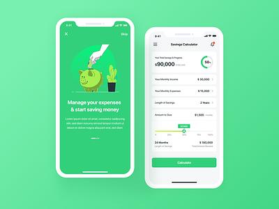 Daily UI #4 - Calculator money app mobile design savings app savings calculator daily ui 004 design app design app ux uiux ui daily ui challenge dailyui