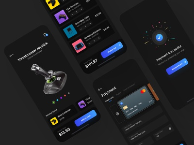 Game Accessories App payment cart checkout gadgets dark mode mobile design dailyui app design uiux ux ui