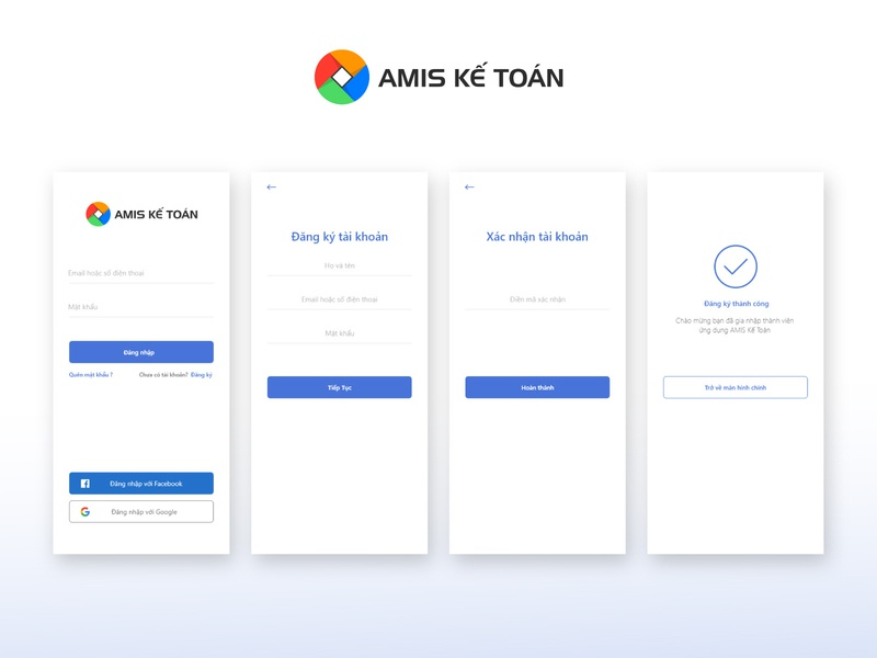 Log In Screens - Amis accountant app success message confirm sign up login page red blue light app accountant ui login