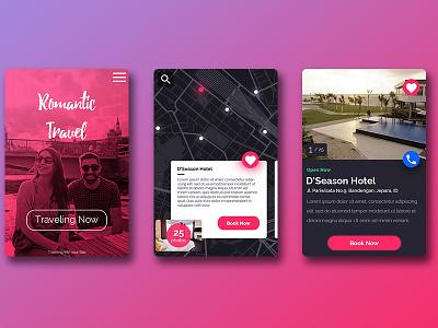 Romantic Travel Hotel Booking App UI Design indonesia traveloka. jepara booking hotel cool design cool app material ticket app ux design ui design traveling travel