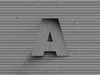 Letter A, 36daysoftype 2020 rays trippy visual effect abstract geometry geometric abstraction optical illusion op art geometrical type black white adobe striped lines hypnotic kinetic typography graphic design lettering letter a 36days 36daysoftype-a 36daysoftype07 36daysoftype