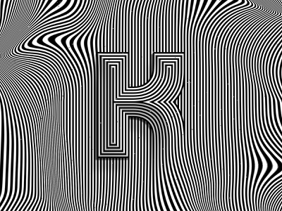 Letter K, 36daysoftype 2020 trippy visual effect abstract distortion psychedelic abstraction optical illusion op art geometrical type black white striped lines hypnotic kinetic typography graphic design lettering letter k 36days 36daysoftype-k 36daysoftype07 36daysoftype