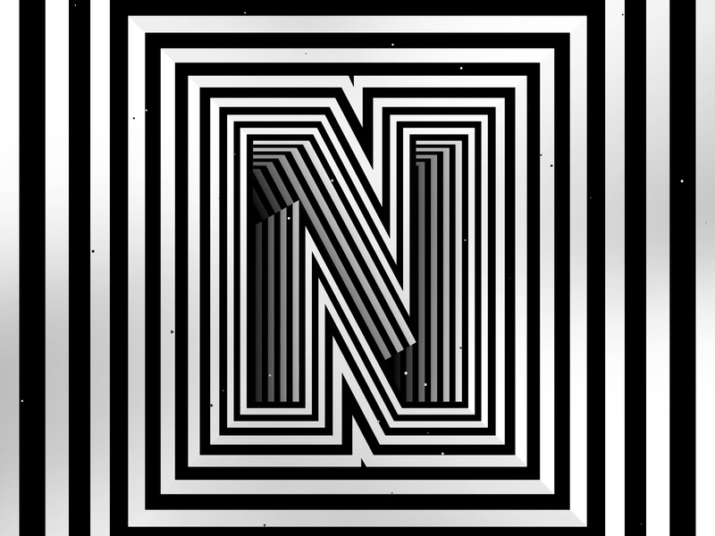 Letter N, 36daysoftype 2020 trippy visual effect abstract geometry geometric abstraction optical illusion op art geometrical type black white striped lines hypnotic kinetic typography graphic design opart letter n 36days 36daysoftype-n 36daysoftype07 36daysoftype