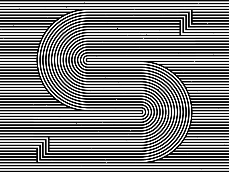 Letter S, 36daysoftype 2020 trippy visual effect abstract geometry geometric abstraction optical illusion op art geometrical type black white striped lines hypnotic kinetic typography graphic design opart letter s 36days 36daysoftype-s 36daysoftype07 36daysoftype