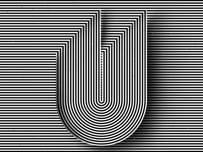 Letter U, 36daysoftype 2020 trippy visual effect abstract geometry geometric abstraction optical illusion op art geometrical type black white striped lines hypnotic kinetic typography graphic design opart letter u 36days 36daysoftype-u 36daysoftype07 36daysoftype