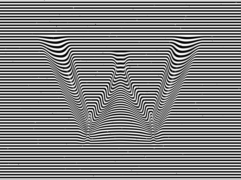 Letter W, 36daysoftype 2020 trippy visual effect abstract geometry geometric abstraction optical illusion op art geometrical type black white striped lines hypnotic kinetic typography graphic design opart letter w 36days 36daysoftype-w 36daysoftype07 36daysoftype