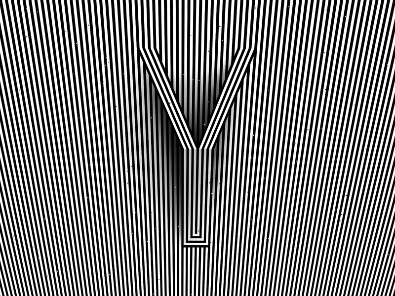 Letter Y, 36daysoftype 2020 trippy visual effect abstract geometry geometric abstraction optical illusion op art geometrical type black white striped lines hypnotic kinetic typography graphic design opart letter y 36days 36daysoftype-y 36daysoftype07 36daysoftype