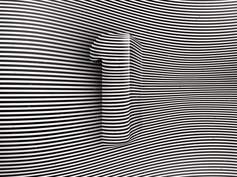 Number 1, 36daysoftype 2020 3d number visual effect abstract geometry geometric abstraction optical illusion op art geometrical type black white striped lines hypnotic kinetic typography graphic design opart letter 1 36days 36daysoftype-1 36daysoftype07 36daysoftype