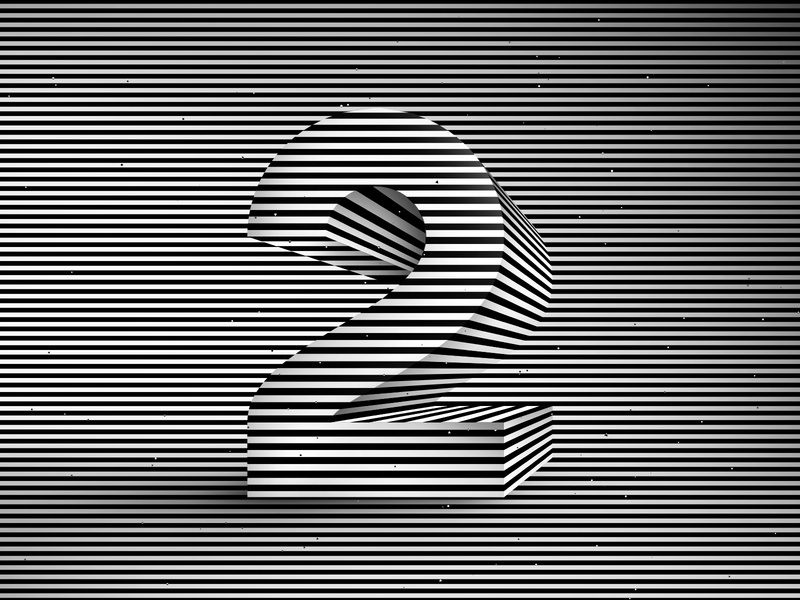 Number 2, 36daysoftype 2020 3d number visual effect abstract geometry geometric abstraction optical illusion op art geometrical type black white striped lines hypnotic kinetic typography graphic design opart letter 2 36days 36daysoftype-2 36daysoftype07 36daysoftype